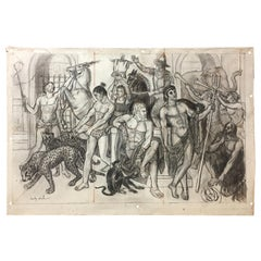 "Charles Real ""circus"", Signed Charcoal Drawing"