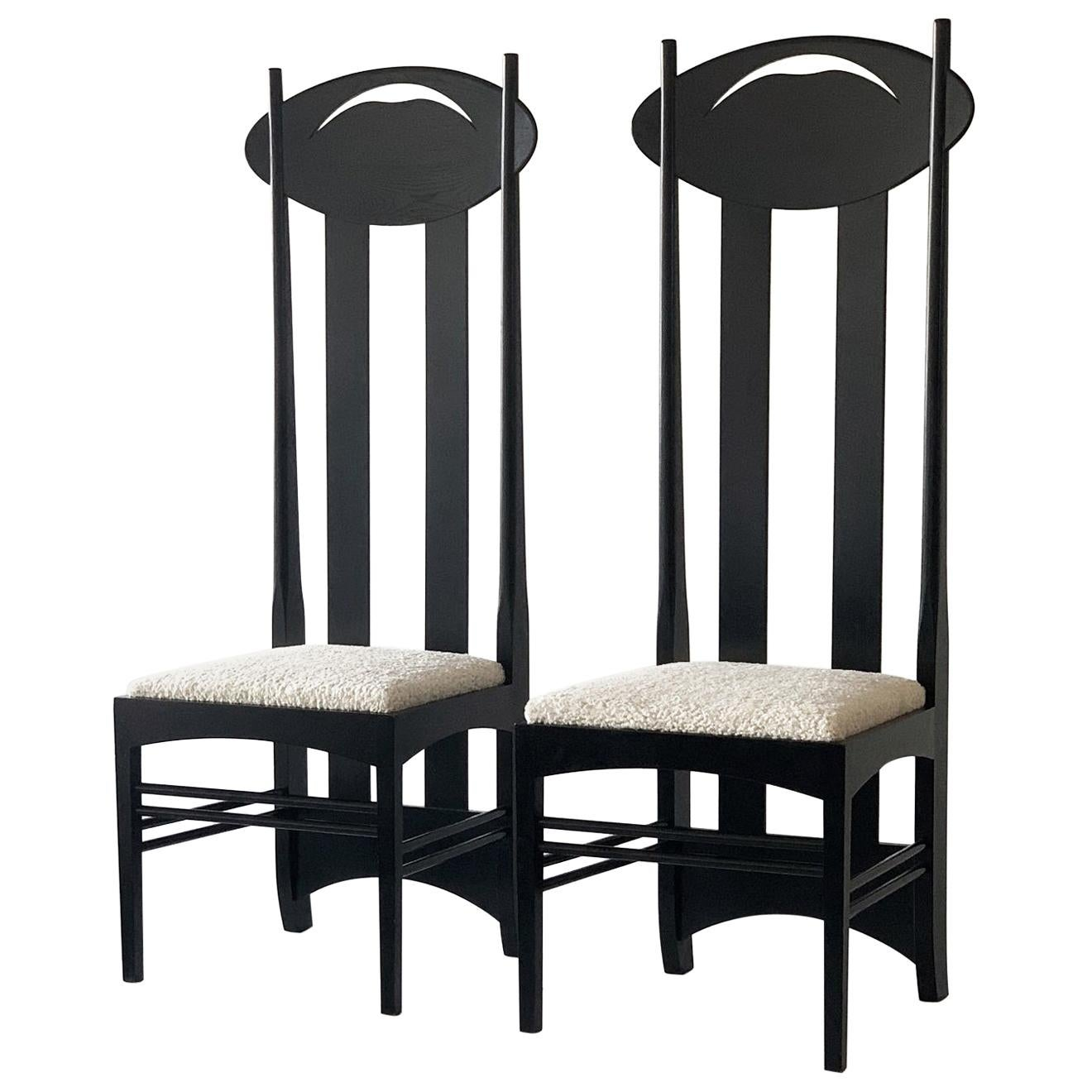 Charles Rennie Mackintosh Argyle Chairs, a Pair, Cassina, 1970's