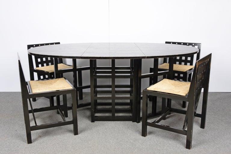 Charles Rennie Mackintosh Ebonized Ash Folding Oval Table DS1, 1970s For Sale 4