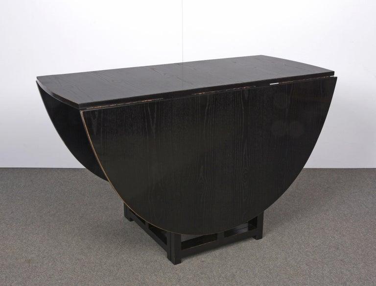 Mid-Century Modern Charles Rennie Mackintosh Ebonized Ash Folding Oval Table DS1, 1970s For Sale