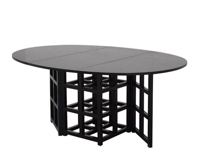 Wood Charles Rennie Mackintosh Ebonized Ash Folding Oval Table DS1, 1970s For Sale