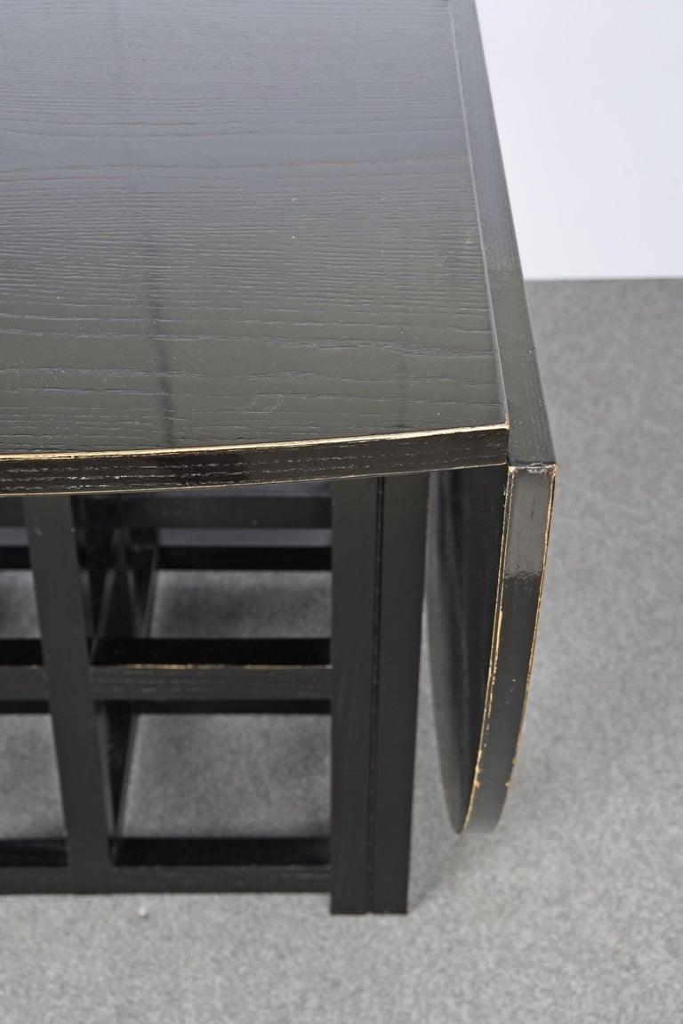 Charles Rennie Mackintosh Ebonized Ash Folding Oval Table DS1, 1970s For Sale 2