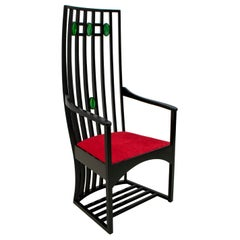 Charles Rennie Mackintosh High Back Chair Oak and Glass Paste, 1970s