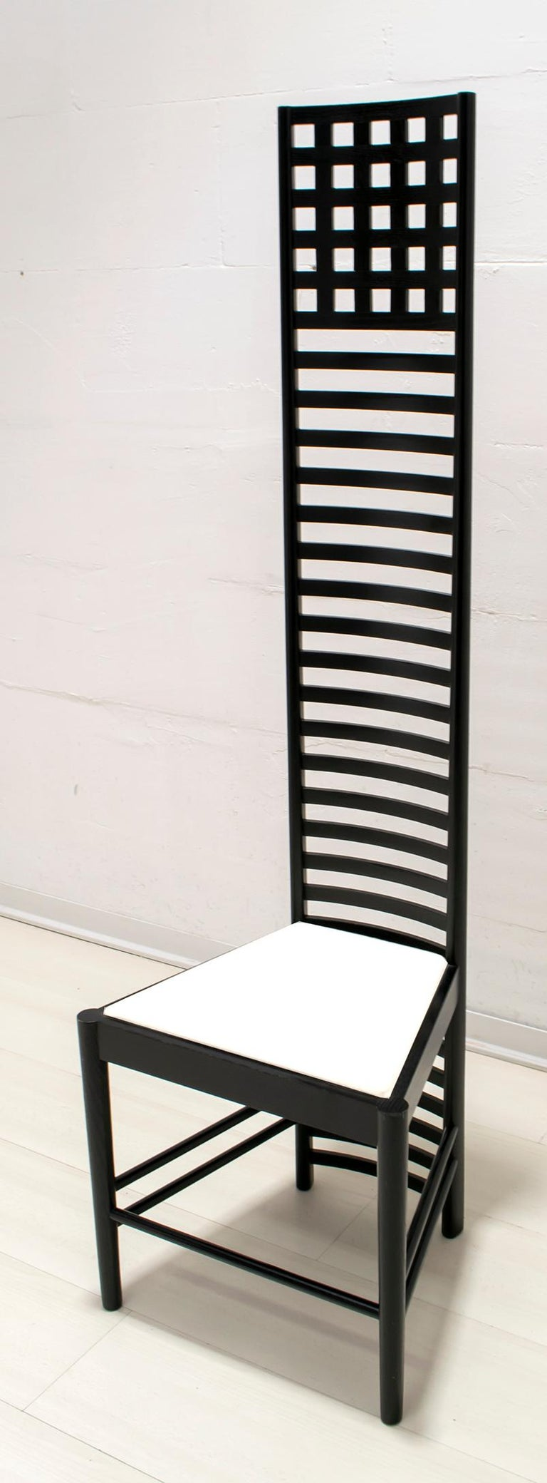 This chair was displayed at the eighth edition of the Secession in Vienna, Austria, in 1900, where Mackintosh with his individual style contributed to the development of the Wiener Werkstätte, a famous Viennese design studio, founded in 1903 by