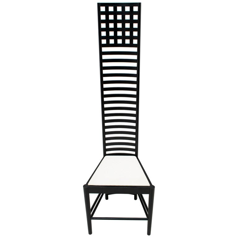 """Charles Rennie Mackintosh High Back Chairs """"Hill"""" by Cassina, 1973"""
