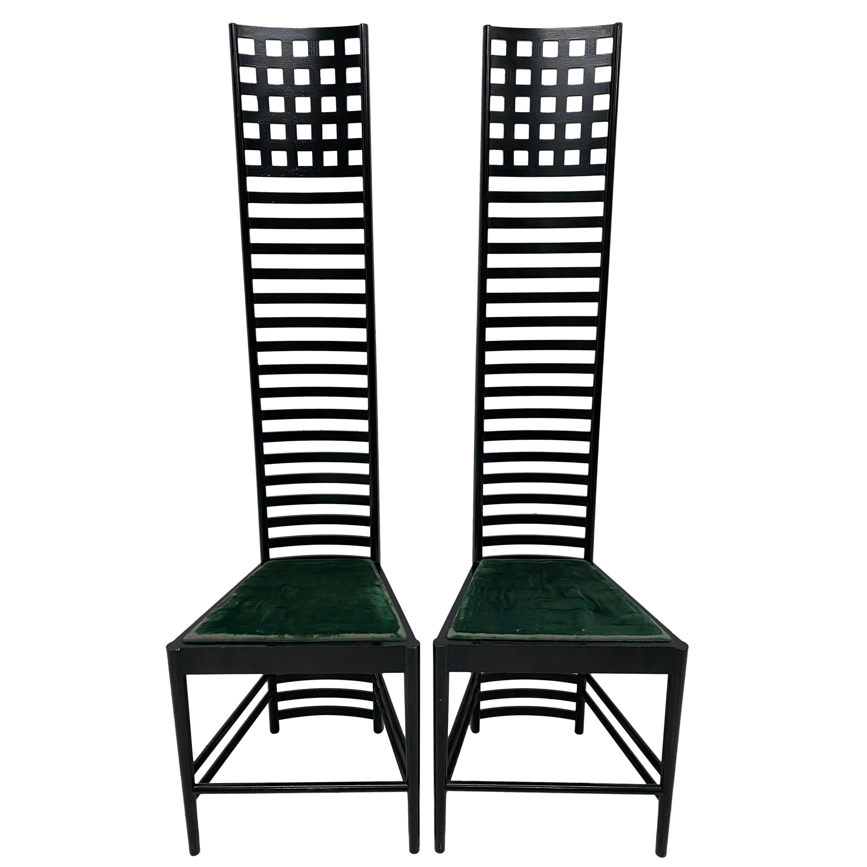 """Charles Rennie Mackintosh """"Hill House 1"""" Chairs for Cassina, a Pair"""