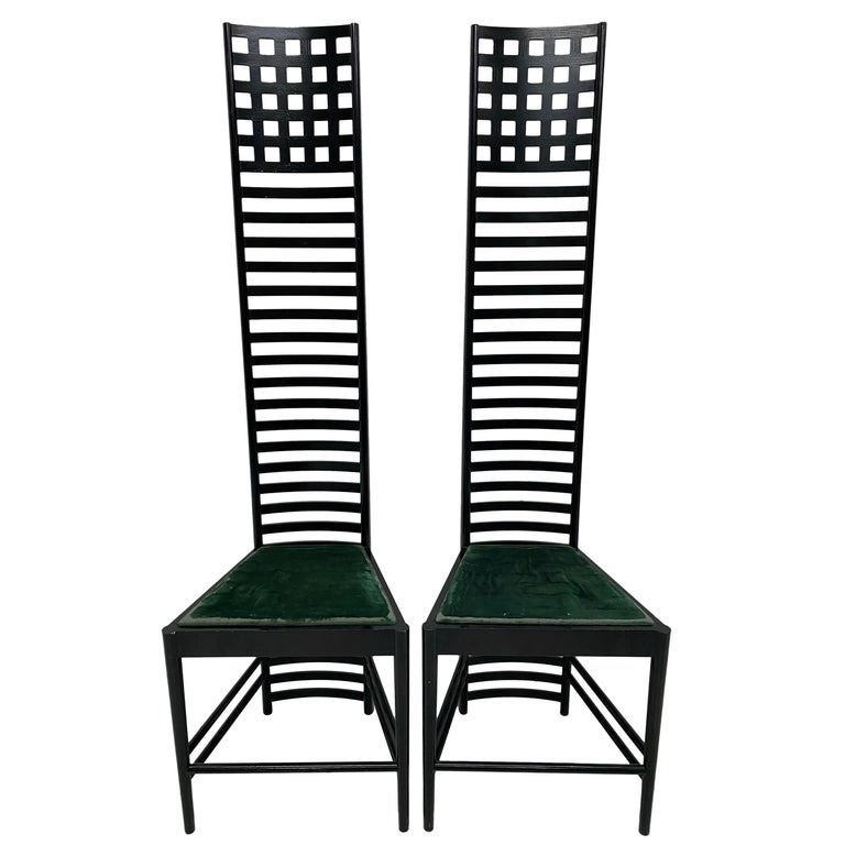 """Charles Rennie Mackintosh """"Hill House 1"""" Chairs for Cassina, a Pair For Sale"""
