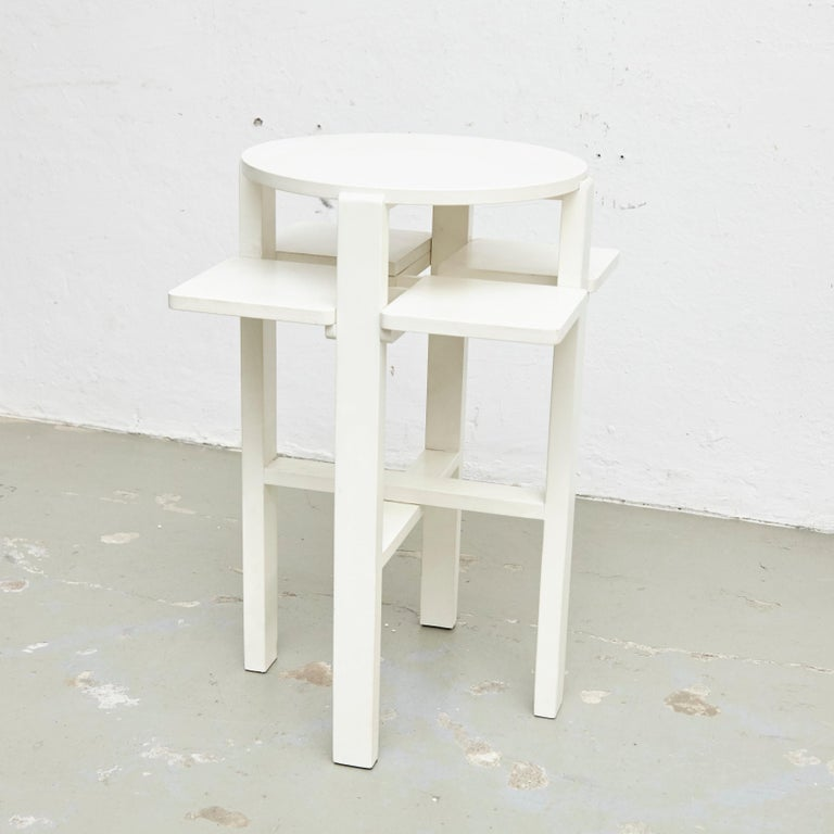 Side table designed by Charles Rennie Mackintosh in 1911. Manufactured by BD, circa 1970. White lacquered solid beechwood  In original condition, with minor wear consistent with age and use, preserving a beautiful patina.  Charles Rennie