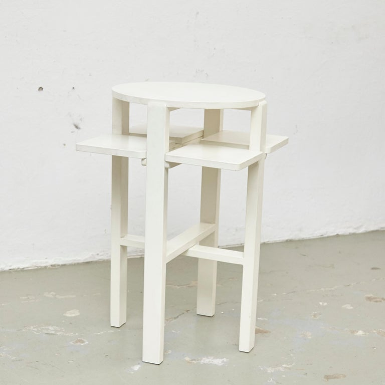 Mid-Century Modern Charles Rennie Mackintosh White Lacquered Domino Side Table, circa 1970 For Sale