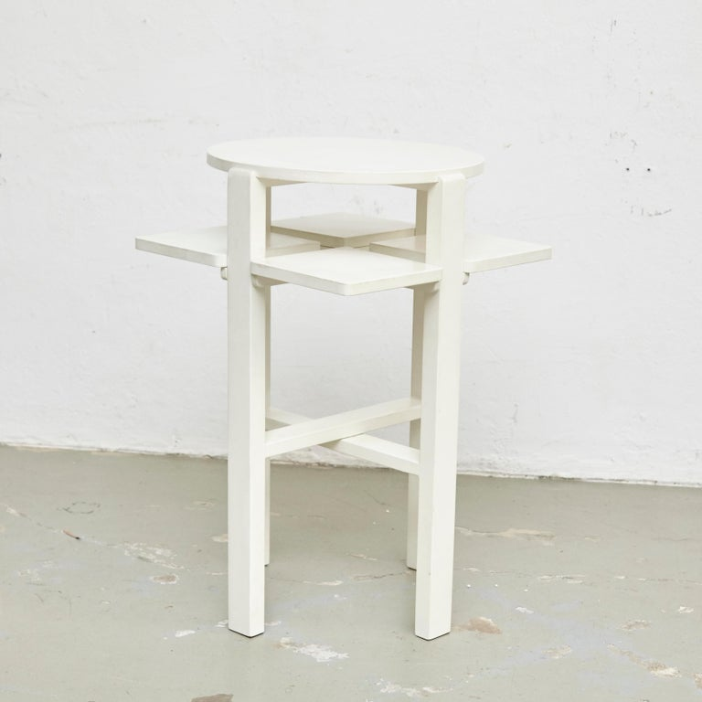 Spanish Charles Rennie Mackintosh White Lacquered Domino Side Table, circa 1970 For Sale