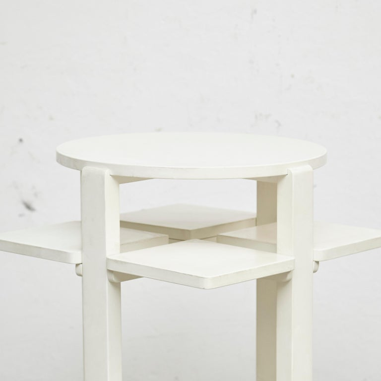 Charles Rennie Mackintosh White Lacquered Domino Side Table, circa 1970 In Good Condition For Sale In Barcelona, Barcelona