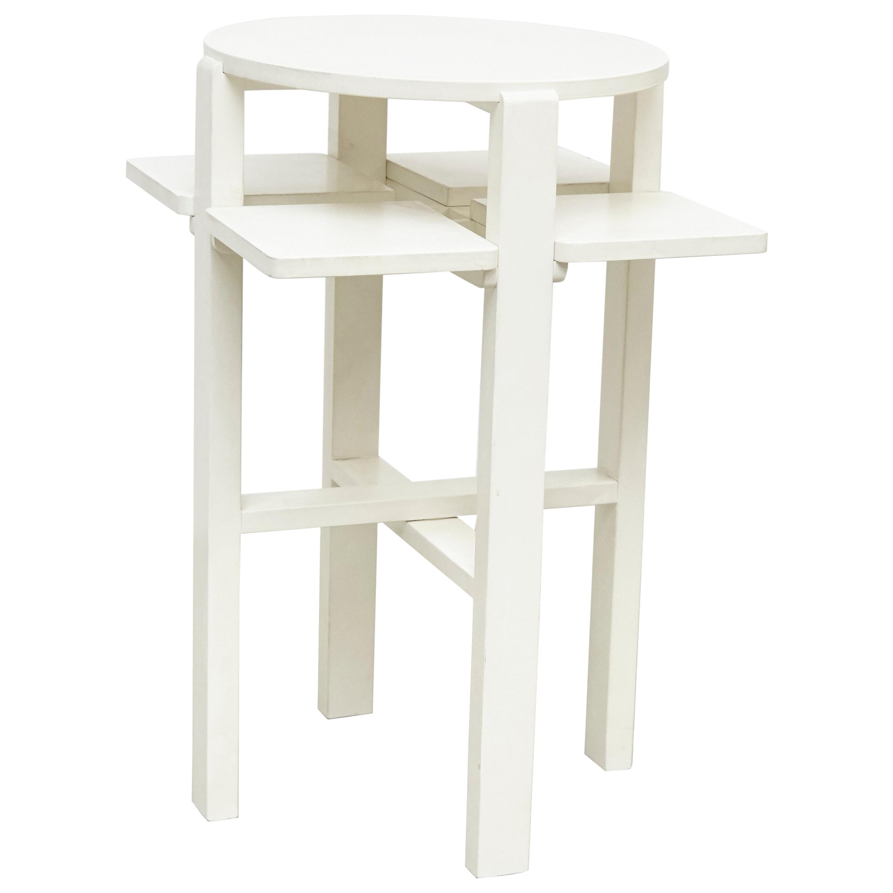 Charles Rennie Mackintosh White Lacquered Domino Side Table, circa 1970