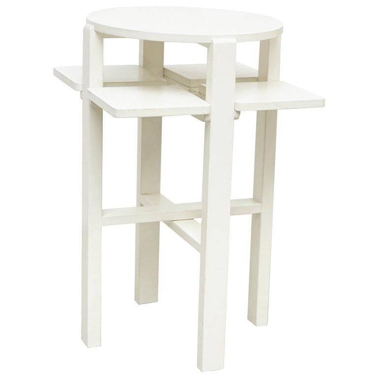 Charles Rennie Mackintosh White Lacquered Domino Side Table, circa 1970 For Sale