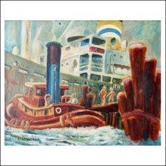 """Charles Rosen """"New York Harbor,"""" Modernist Boats New Hope Woodstock 1920s 1930s"""