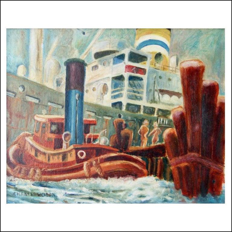 """Charles Rosen """"New York Harbor,"""" Modernist Boats New Hope Woodstock 1920s 1930s - Painting by Charles Rosen"""