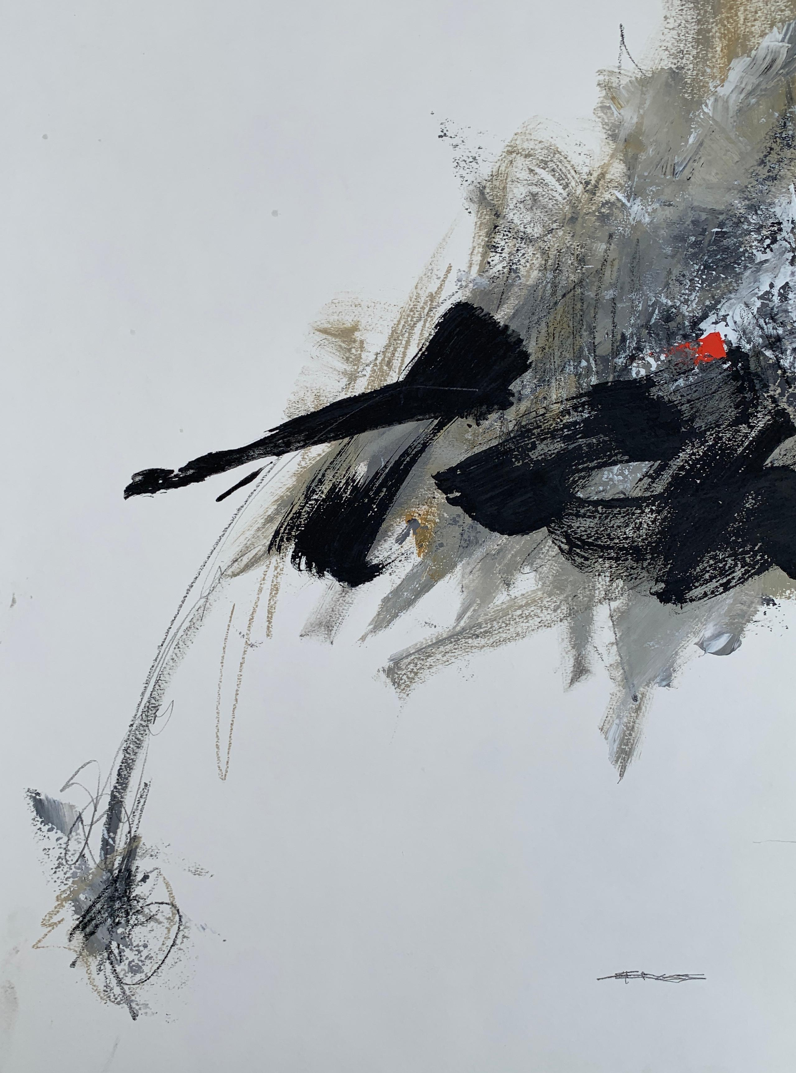 Breakdance by Charles Ross, Vertical Abstract Mixed Media on Paper Painting