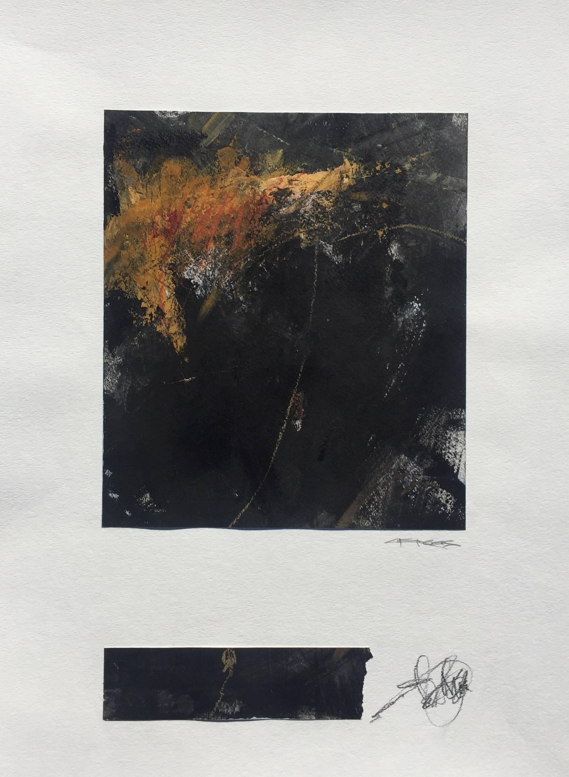 Cool-Headed, Vertical Abstract Painting on Paper