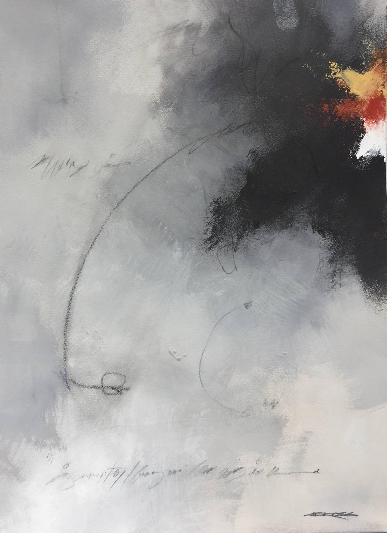 "This vertical abstract painting on paper titled ""In The Gray I"" by American artist Charles Ross has a palette of gray, white, black, red and a golden yellow.  The artist signed this piece on the bottom right."