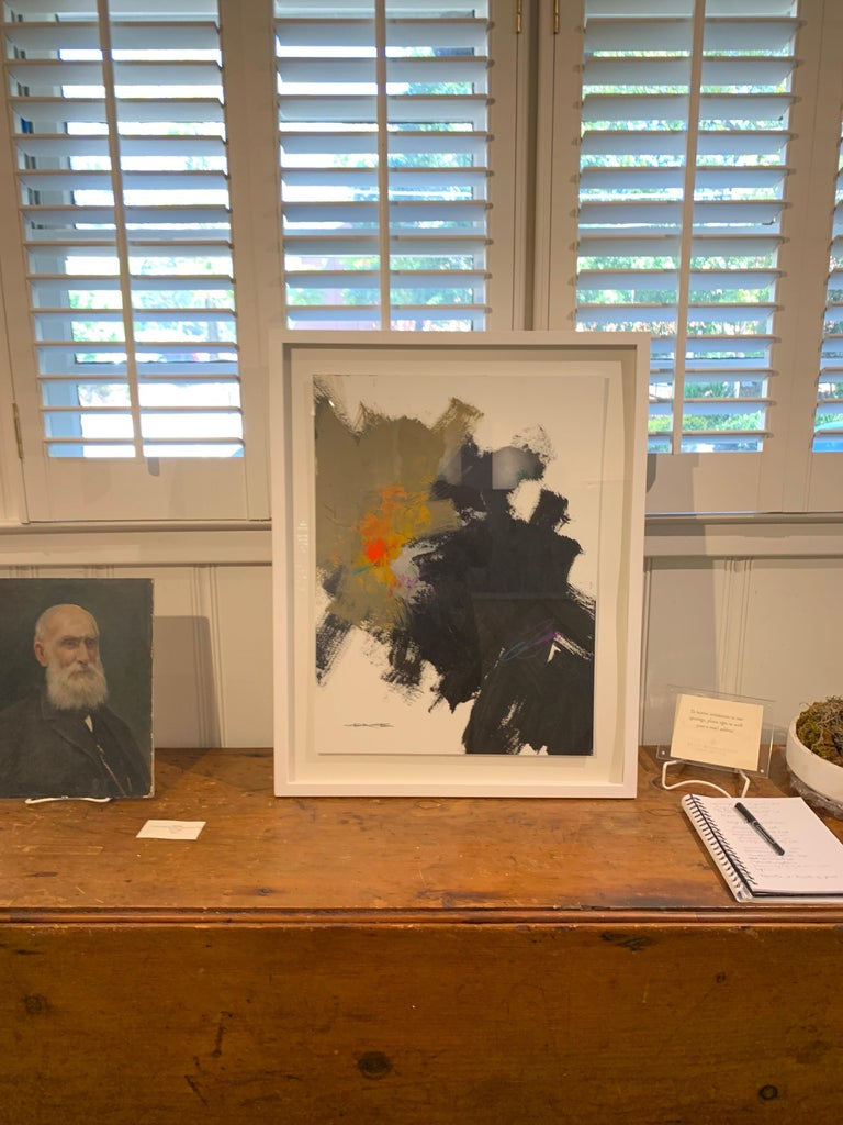 Midnight by Charles Ross, Framed Abstract Painting on Paper 1