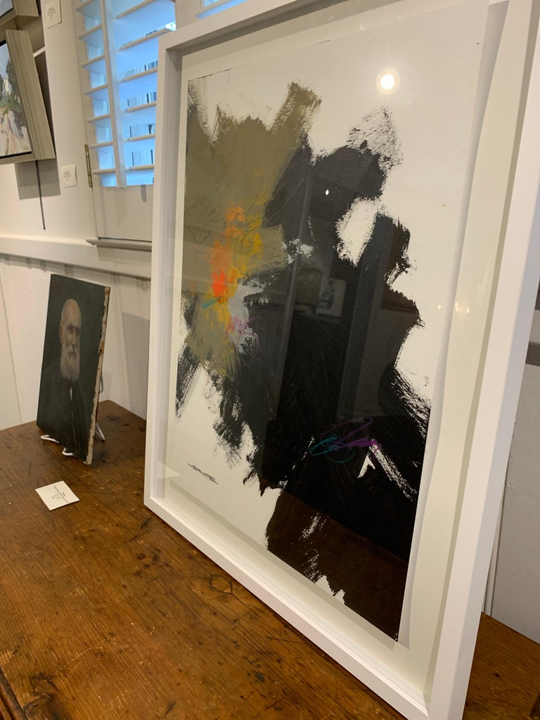 Midnight by Charles Ross, Framed Abstract Painting on Paper 3