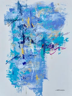 Skyfall I by Charles Ross, Abstract Mixed Media on Paper Vertical Painting