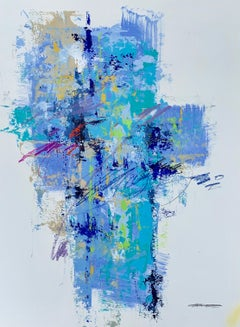 Skyfall II by Charles Ross, Abstract Mixed Media on Paper Vertical Painting