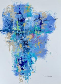 Skyfall III by Charles Ross, Abstract Mixed Media on Paper Vertical Painting