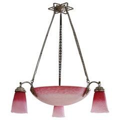 Charles Schneider French Art Deco Pink Chandelier, 1924-1928