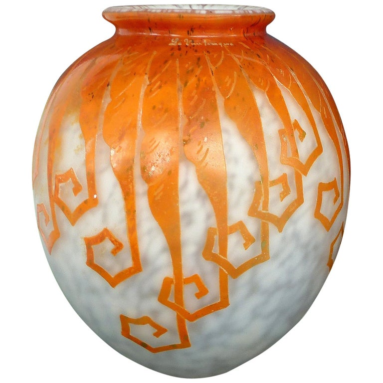 """Charles Schneider French Cameo Glass """"Le Fougeres"""" Acid-Etched Vase For Sale"""