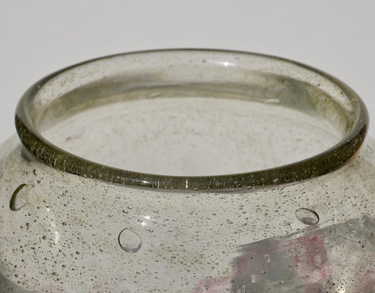 Art Glass Charles Schneider Le Verre Francais Art Deco Large Footed Glass Vase For Sale