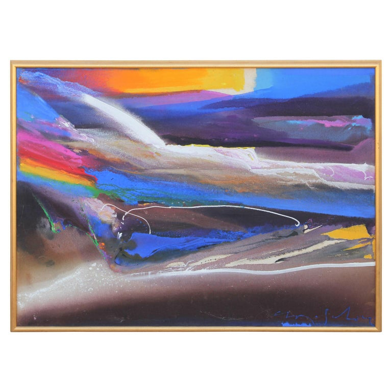 Jewel-tone abstract color field painting that appears to be a landscape. The work is signed by the artist in the bottom right corner and displayed in a beautiful golden frame.   Dimensions Without Frame: H 36 in. x W 48 in.   Artist Biography: