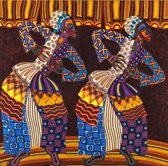 Dancers: 1970s African American artist's painting inspired by Nigeria, Africa