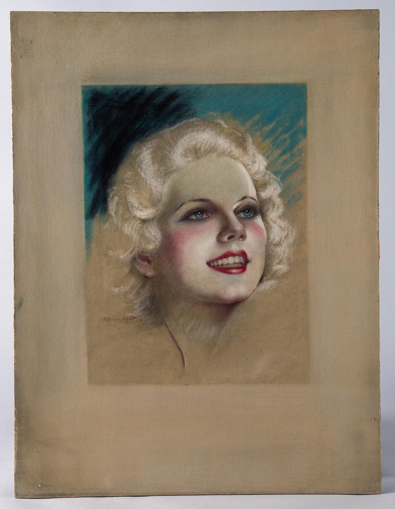 This 1930s-era original pastel on board by Charles Sheldon was one of the many movie magazine covers he created featuring Golden Age Hollywood icons.  The pastels he created for Photoplay from 1925 to 1930 included glamorous depictions of Hollywood