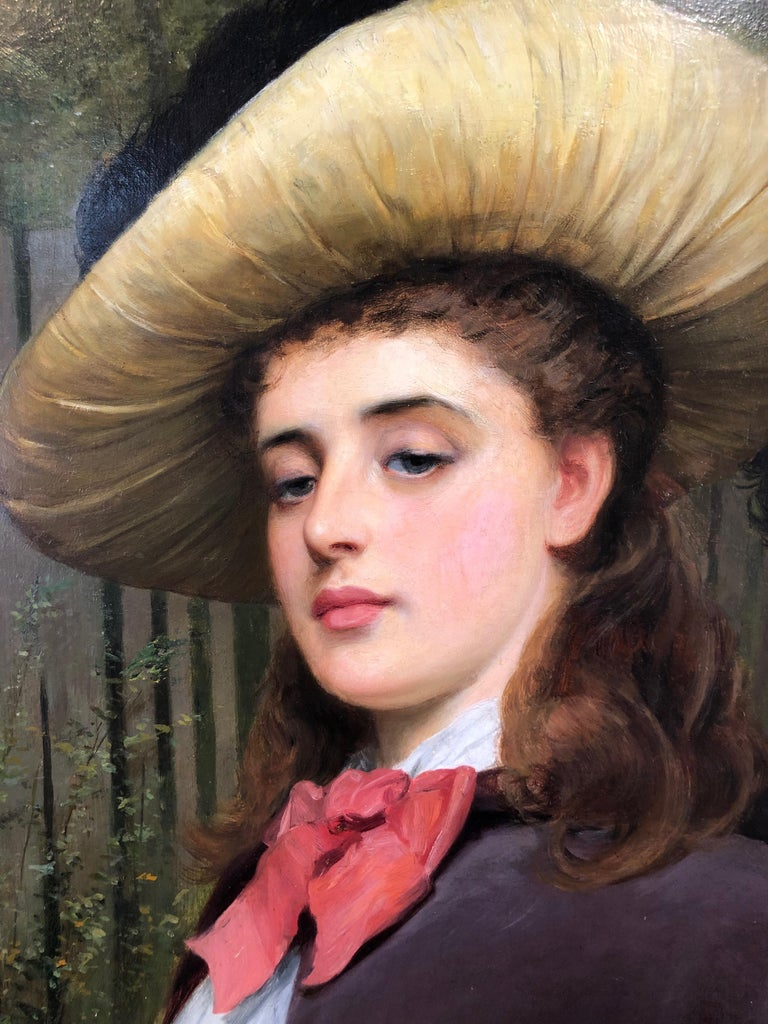 My Lady Distain - Large Portrait Oil Painting by Charles Sillem Lidderdale - Black Figurative Painting by Charles Sillem Lidderdale