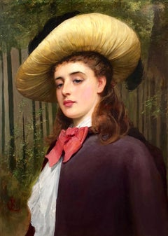My Lady Distain - Large Portrait Oil Painting by Charles Sillem Lidderdale
