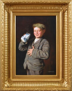 Late 19th Century genre portrait oil painting of a boy
