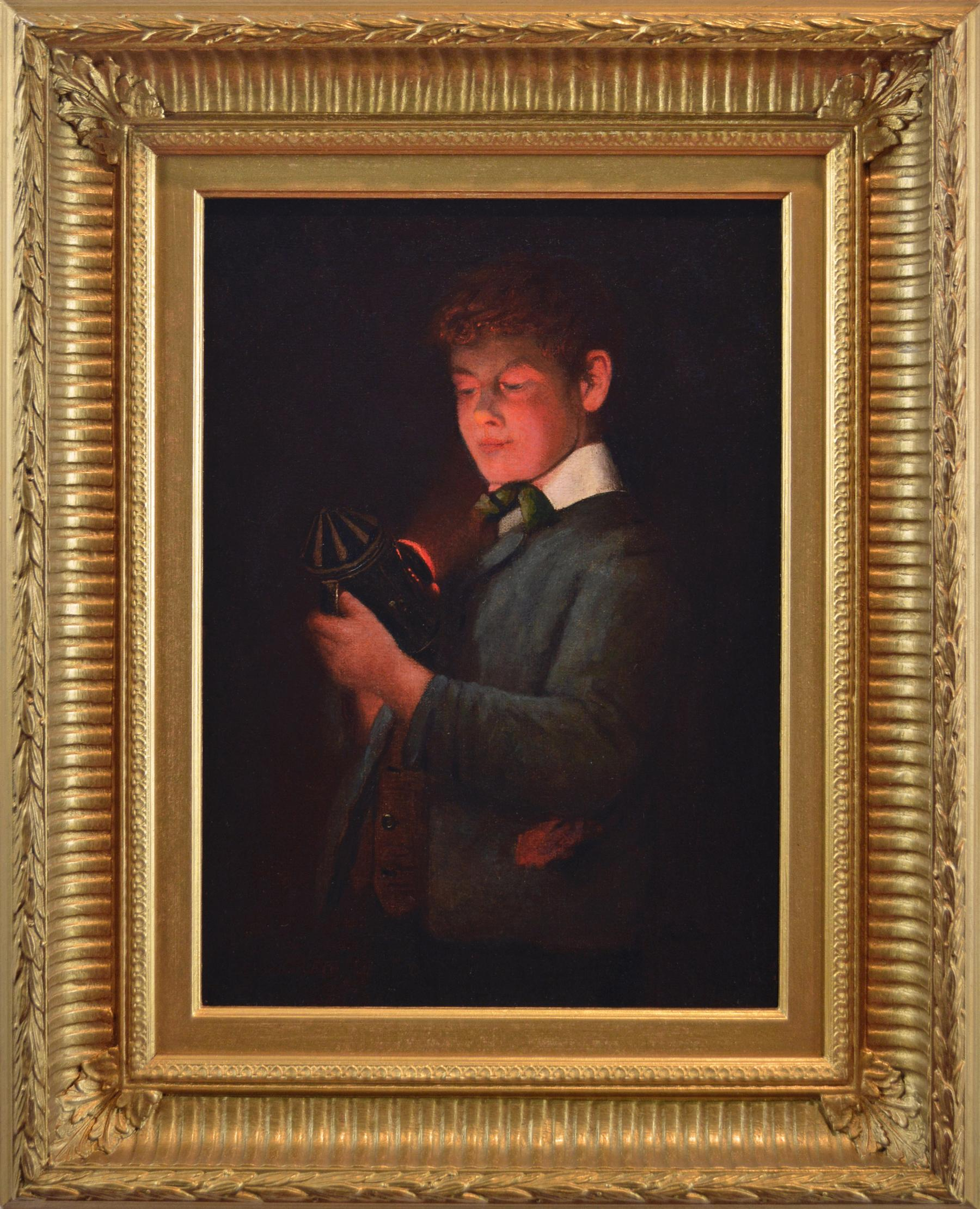 Late 19th Century genre portrait oil painting of a boy holding a lantern