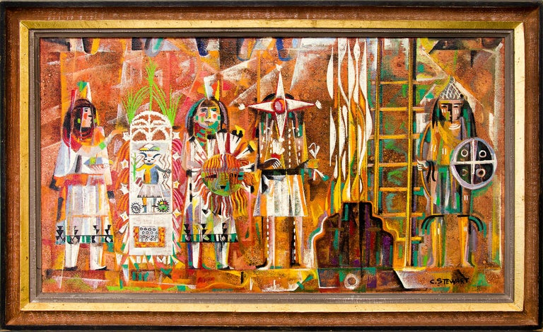 Charles Stewart Abstract Painting - The Warrior and the Star Precedes the Sun (Hopi Ceremony, Oraibe, Arizona)