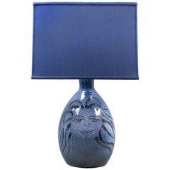 Charles Sucsan, Blue Glazed Ceramic Lamp
