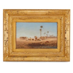 Orientalist painting of a desert caravan by Charles-Théodore Frère