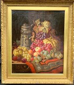 19th century English oil of still life of fruit, German Stein with silver lid