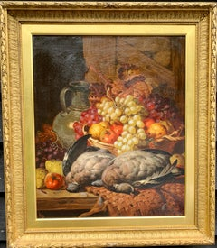19th century English oil of still life of fruit, pigeons, apples, pears grapes
