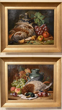 """Oil Painting Pair by Charles Thomas Bale """"Fruit and Game Larder Scenes"""""""