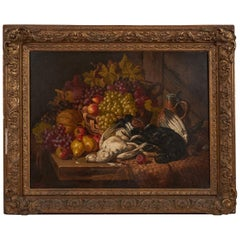 "Charles Thomas Bale Oil on Canvas ""Still Life, Grapes, Apples, Pears"