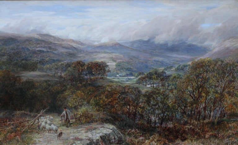 Panoramic Shepherd's View - British 19thC oil painting Welsh landscape Snowdon - Impressionist Painting by Charles Thomas Burt