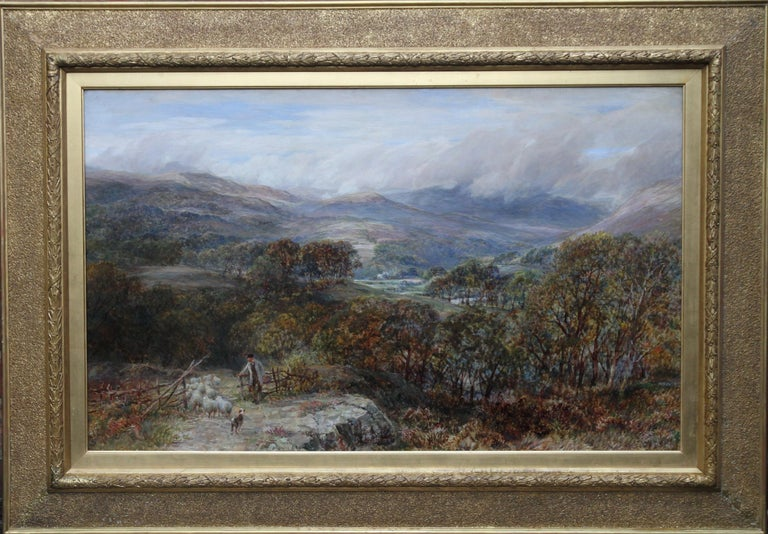 Panoramic Shepherd's View - British 19thC oil painting Welsh landscape Snowdon - Gray Landscape Painting by Charles Thomas Burt