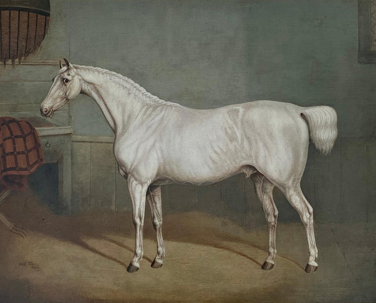 19th century English portrait of a White/grey hunter in a stable - Painting by Charles Towne