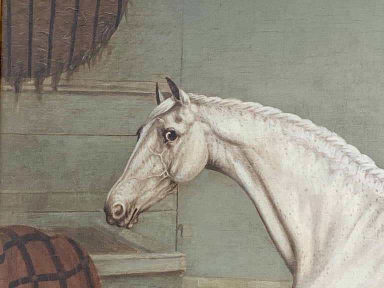 19th century English portrait of a White/grey hunter in a stable For Sale 1