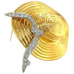 Charles Turi 18 Karat Yellow Gold and Diamond .80 Carat Wide Brim Hat Brooch