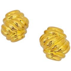 Charles Turi 18 Karat Yellow Gold Hi Polished Twist Earrings